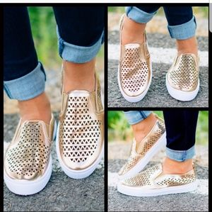 NIB Rose Gold slip ons